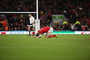 Wales Alex Cuthbert cannot believe Wales lost during the Rugby World Cup Quarter Final match between South Africa and Wales at Twickenham, Richmond, United Kingdom on 17 October 2015. Photo by Matthew Redman.