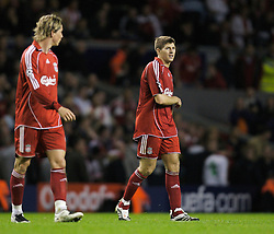 Liverpool, England - Wednesday, October 3, 2007: Liverpool's Steven Gerrard MBE looks dejected as his side lose 1-0 to Olympique de Marseille during the UEFA Champions League Group A match at Anfield. (Photo by David Rawcliffe/Propaganda)