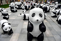 61633274<br /> Lovely pandas are seen during the 1St panda exhibition at Kerry Centre Square in Shanghai, East China, June 2, 2014. A total of 100 pandas made of leftover moso bamboos were displayed during the exhibition, Monday, 2nd June 2014. Picture by  imago / i-Images<br /> UK ONLY