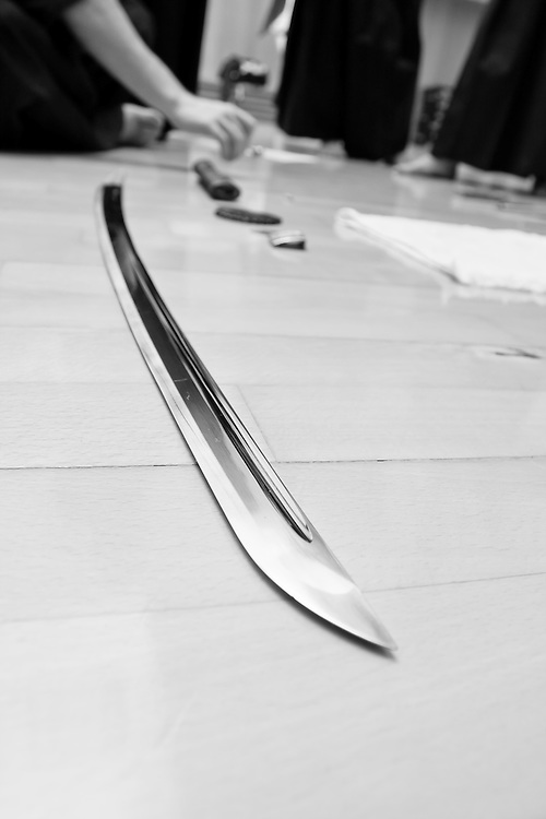 The blade of a iaito (training sword). Even though they look like a real sword Iaito have no cutting edge to make it safer for beggining students. After practicing the art for enough years, a student will be able to practice with a real sword (shinken).