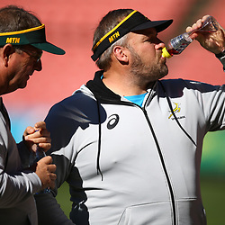 Swys de Bruin (consultant) and Emirates Lions head coach with Matt Proudfoot (Forward Coach) of South Africa during the South African - Springbok Captain's Run at Emirates Airline Park,<br /> Johannesburg .South Africa. 08,06,2018 Photo by (Steve Haag Sports)