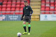 Forest Green Rovers Liam Shephard(2) warming up during the EFL Sky Bet League 2 match between Crewe Alexandra and Forest Green Rovers at Alexandra Stadium, Crewe, England on 27 April 2019.