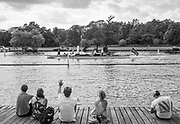 Henley. Berks, United Kingdom. <br /> <br /> Spectators, on the slipway of Upper Thames RC.  watch as the Umpires Launch, &quot;Consulta&quot; passes Upper Thames RC. 2017 Henley' Women's Regatta. Rowing on, Henley Reach. River Thames. <br /> <br /> <br /> Saturday  17/06/2017<br /> <br /> <br /> [Mandatory Credit Peter SPURRIER/Intersport Images]