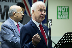 "© Licensed to London News Pictures. 08/04/2017. Birmingham, UK. Birmingham Mosque held a British tea party in answer to a EDL protesting taking part in the City on the same day. Pictured, DAVID JAMIESON Police and Crime Commissioner addresses the audience. The tea party was being described as ""The best of British"". Photo credit: Dave Warren/LNP"