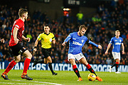 Andy Halliday of Rangers hits a shot from just outside the Kilmarnock box during the Ladbrokes Scottish Premiership match between Rangers and Kilmarnock at Ibrox, Glasgow, Scotland on 31 October 2018.