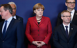 German Chancellor Angela Merkel(C) attends the family photo session with other European leaders during a two-day European Union leaders summit at the EU Council headquarters in Brussels, Belgium, March 17, 2016. EXPA Pictures © 2016, PhotoCredit: EXPA/ Photoshot/ Ye Pingfan<br /> <br /> *****ATTENTION - for AUT, SLO, CRO, SRB, BIH, MAZ, SUI only*****