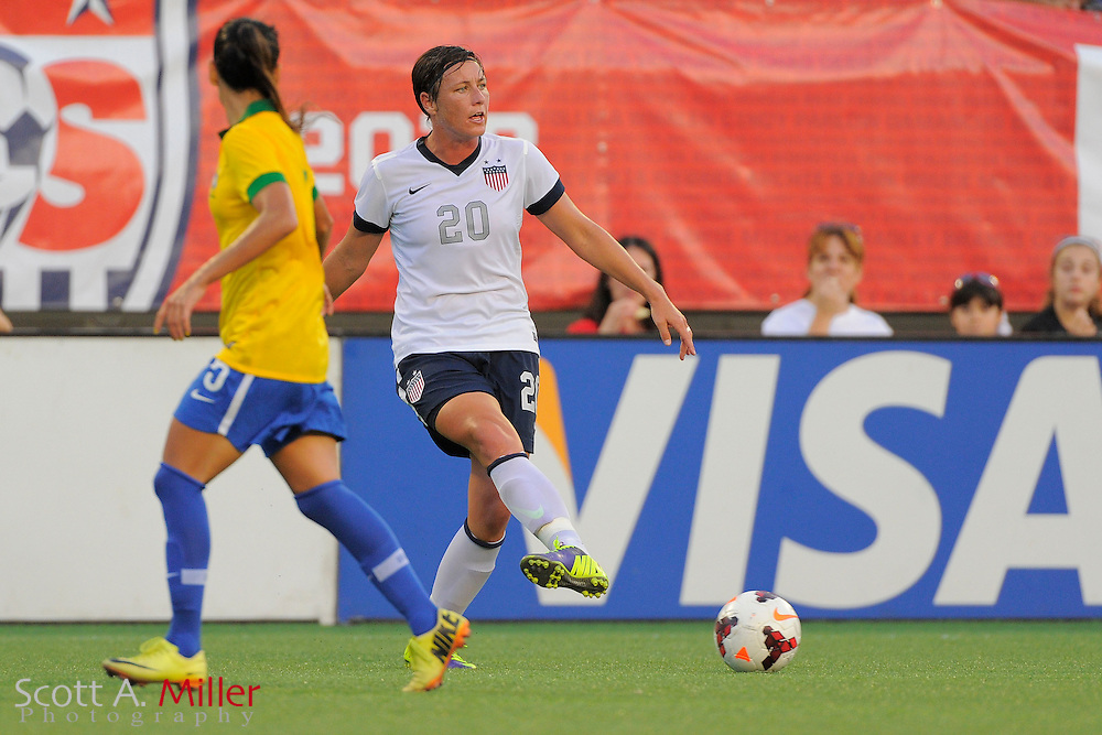 U.S. forward Abby Wambach (20) brings the ball upfield during an international friendly against Brazil at the Florida Citrus Bowl on Nov. 10, 2013 in Orlando, Florida.  The U.S. won 4-1.<br /> <br /> &copy;2013 Scott A. Miller