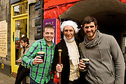 Rico Casey, Stephan Tummins from Newcastle with Arhur Guiness AKA Midie Corcoran  for Arthur's day celebrating Guinness. Photo:Andrew Downes.