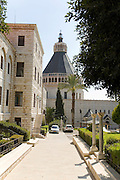 Israel, Nazareth, Exterior of the Basilica of the Annunciation with the Terra sancta convent on the left