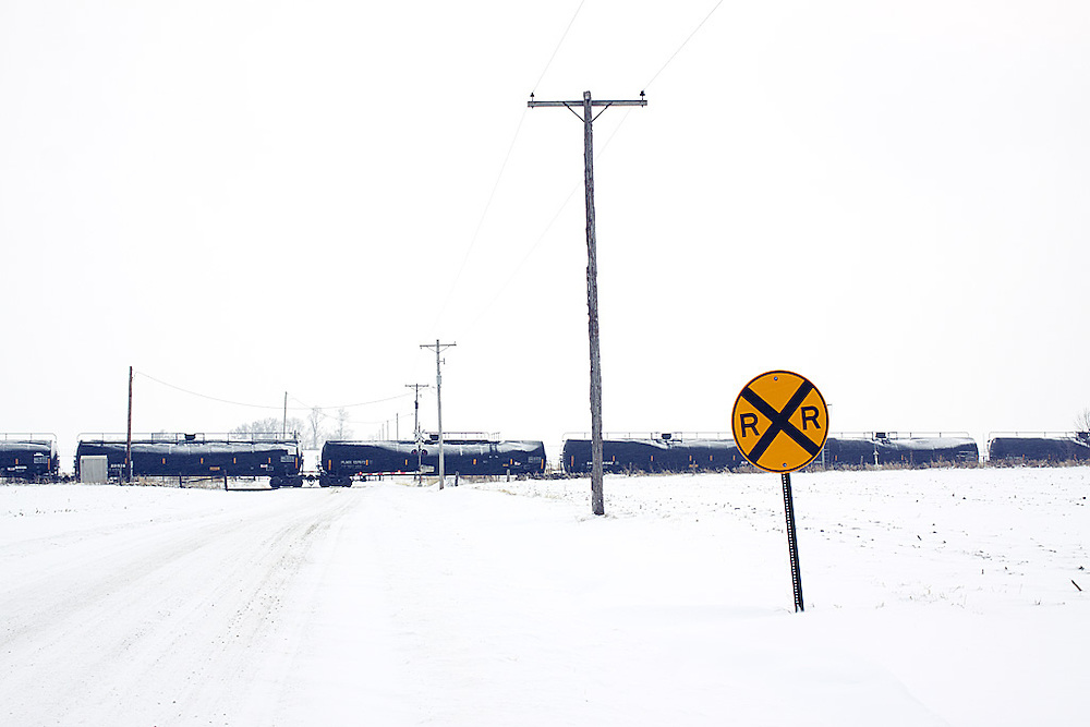 A freight train rolls across a wintry landscape near Williamsfield, IL.