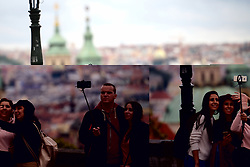 November 1, 2018 - Prague, Czech Republic - Tourists with mobiles taking selfie during autumn colors in Prague in Czech Republic. (Credit Image: © Slavek Ruta/ZUMA Wire)