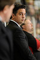 KELOWNA, CANADA - NOVEMBER 4: Travis Green, Assistant GM and Assistant Coach of the Portland Winterhawks stands on the bench opposite Kelowna Rockets at Prospera Place on November 4, 2011 (Photo by Marissa Baecker/Shoot the Breeze) *** Local Caption ***Travis Green;