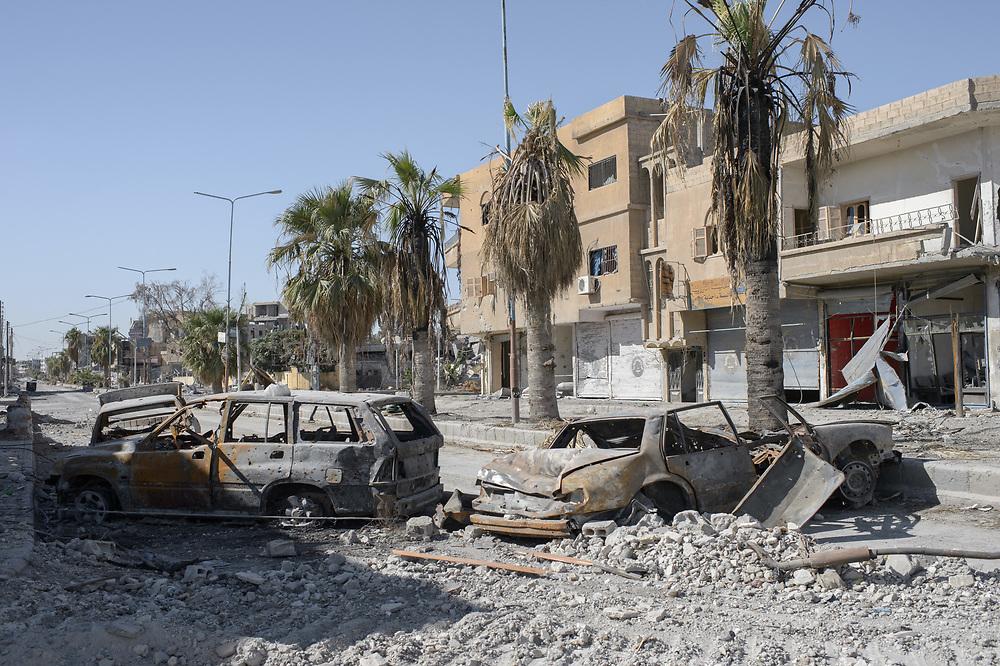 A war-damaged street in Raqqa, Syria,October18,2017