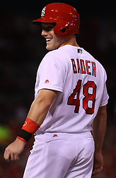 July 28, 2017 - St. Louis, MO, USA - St. Louis Cardinals outfielder Harrison Bader reacts after getting a seventh-inning hit against the Arizona Diamondbacks at Busch Stadium in St. Louis on Friday, July 28, 2017. The Cards won, 1-0. (Credit Image: © Christian Gooden/TNS via ZUMA Wire)
