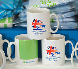 Mugs in the gift shop during the Conservative Party Conference, ICC, Birmingham, Great Britain, October 7, 2012. Photo by Elliott Franks / i-Images.