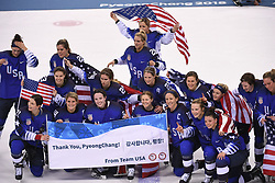 PYEONGCHANG, Feb. 22, 2018  Team USA pose for group photos after winning women's ice hockey final against Canada at Gangneung Hockey Centre, in Gangneung, South Korea, Feb. 18, 2018. The United States beat Canada in shootout to win the women's ice hockey gold medal at the Winter Olympic Games here on Thursday. (Credit Image: © Ju Huanzong/Xinhua via ZUMA Wire)