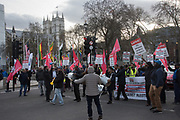Minicab drivers protesing about the congestion charge Parliament Sq. , London. 11 March 2019