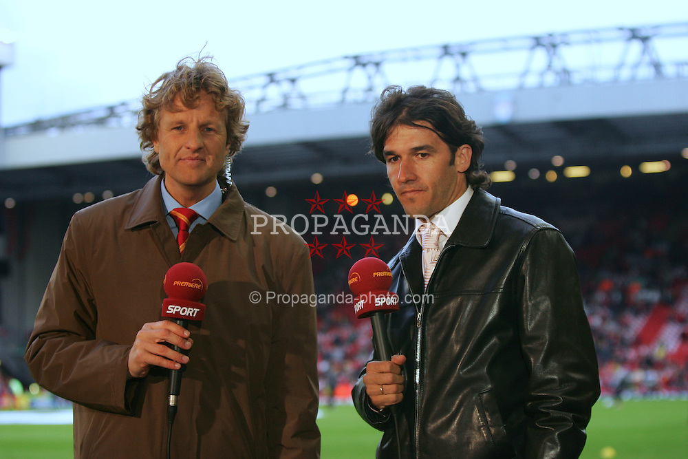 LIVERPOOL, ENGLAND - TUESDAY APRIL 5th 2005:  Former Liverpool striker Karl-Heinz Reidle working for German television before the UEFA Champions League Quarter Final 1st Leg match against Juventus at Anfield. (Pic by David Rawcliffe/Propaganda)
