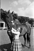 "08/08/1962<br /> 08/08/1962<br /> 08 August 1962 <br /> Dublin Horse show at the RDS, Ballsbridge, Dublin, Wednesday. Image shows 11 year old Mary O'Driscoll of Belvedere Stud, Donaghadee, Co. Down with her mothers 3 year old gelding ""Hypur"", winner of the Anthony Maude Cup at RDS Show."
