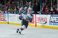 KELOWNA, CANADA - JANUARY 26: Conner Bruggen-Cate #20 of the Kelowna Rockets skates against the Vancouver Giants  on January 26, 2019 at Prospera Place in Kelowna, British Columbia, Canada.  (Photo by Marissa Baecker/Shoot the Breeze)