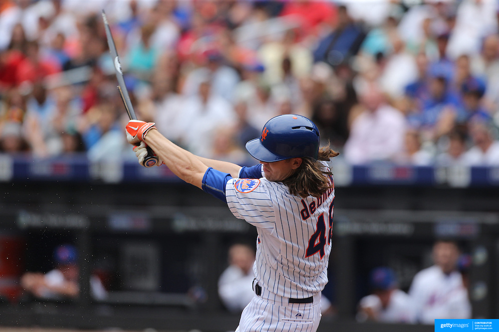 Pitcher Jacob deGrom, New York Mets, breaks his bat while batting during the New York Mets Vs Chicago Cubs MLB regular season baseball game at Citi Field, Queens, New York. USA. 2nd July 2015. Photo Tim Clayton