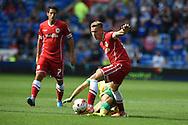 Joe Ralls of Cardiff city in action. Skybet football league championship match, Cardiff city v Norwich city at the Cardiff city Stadium in Cardiff, South Wales on Saturday 13th Sept 2014<br /> pic by Andrew Orchard, Andrew Orchard sports photography.