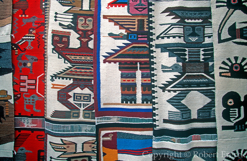 ECUADOR, MARKETS, CRAFTS Otavalo market, traditional textiles