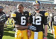 October 31, 2009: Iowa wide receiver Keenan Davis (6) and Iowa quarterback Ricky Stanzi (12) after the Iowa Hawkeyes' 42-24 win over the Indiana Hoosiers at Kinnick Stadium in Iowa City, Iowa on October 31, 2009.
