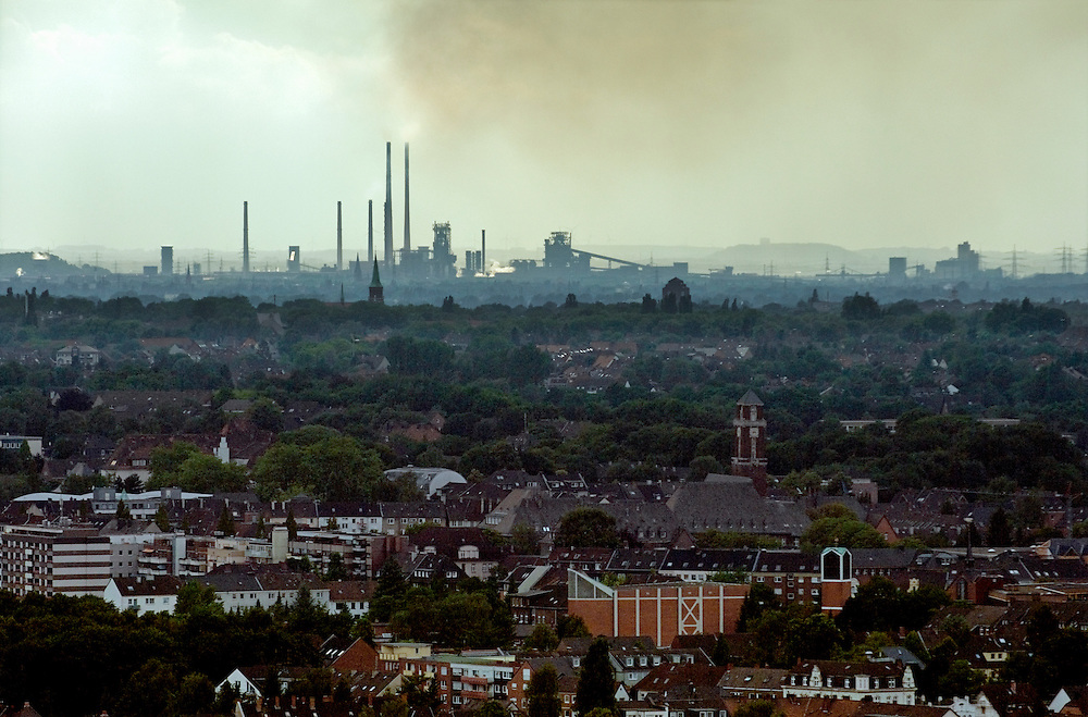 Industrial landscape southwest toward Duisburg from Bottrop, Ruhr Valley, Germany. Coking plants and atmospheric pollution