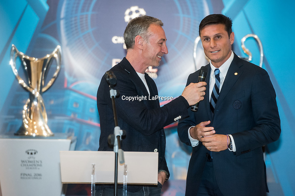 22-04-2016 Milan, Italy.<br /> Opening of the exhibition of the UEFA Champions League Cup at Palazzo Marino.<br /> Photo credit: Cruciatti / LaPresseIn the Photo: Javier Zanetti