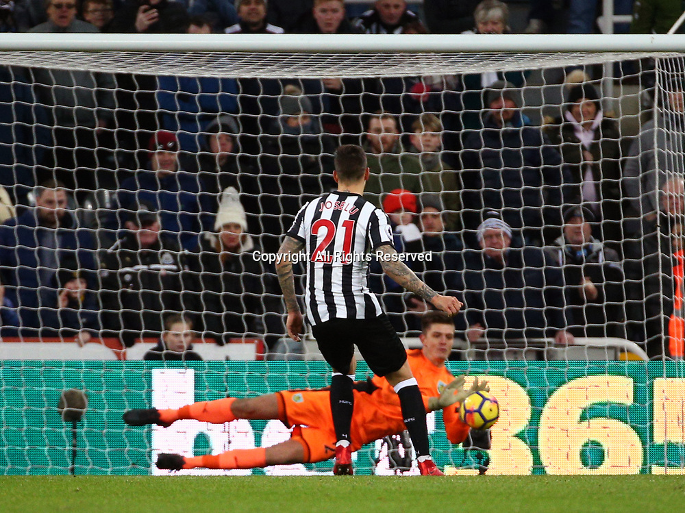 31st January 2018, St James Park, Newcastle upon Tyne, England; EPL Premier League football, Newcastle United Burnley; Joselu of Newcastle United penalty is saved by Nick Pope of Burnley in the 34th minute