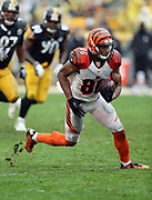 Cincinnati Bengals wide receiver James Wright (86) kicks up some grass as he catches a fourth quarter pass for a gain of 10 yards to the Pittsburgh Steelers 27 yard line during the 2016 NFL week 2 regular season football game against the Pittsburgh Steelers on Sunday, Sept. 18, 2016 in Pittsburgh. The Steelers won the game 24-16. (©Paul Anthony Spinelli)