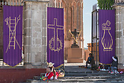 The gates of the Parroquia de San Miguel Arcángel church are decorated for Palm Sunday considered the start of Roman Catholic Holy Week March 23, 2018 in San Miguel de Allende, Mexico.