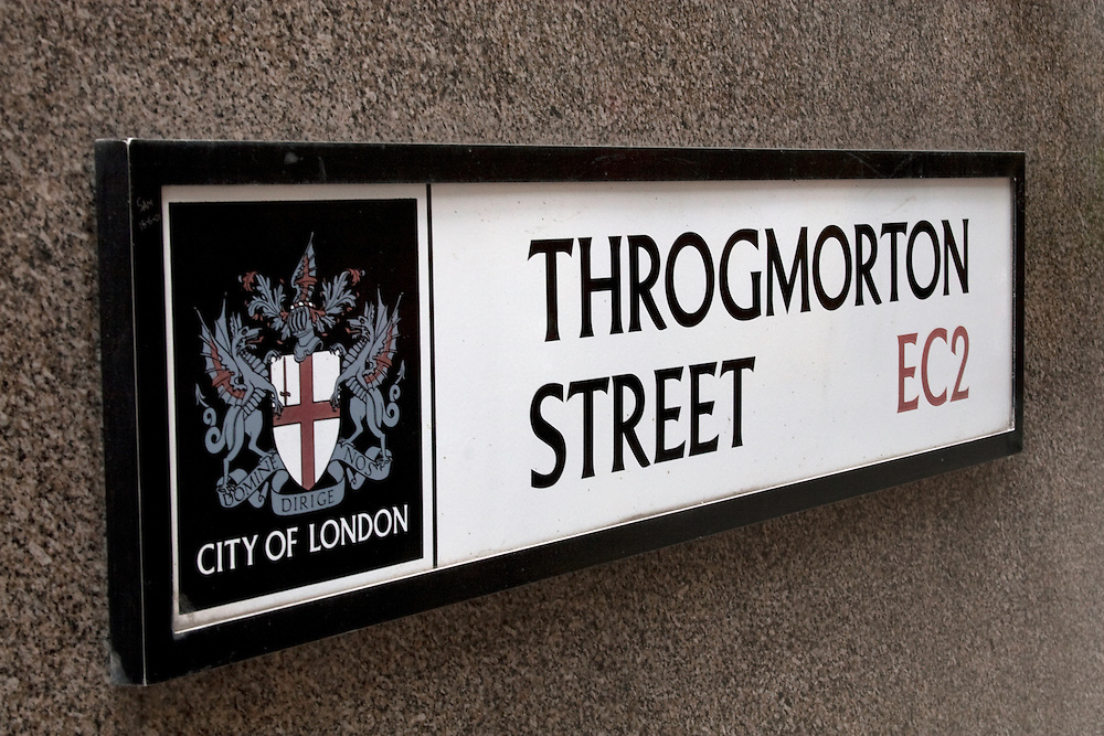 Throgmorton Street sign in London EC2