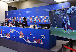 June 15, 2017 - Sankt-Petersburg, Russia - Russia, St. Petersburg, June 15, 2017. Confederations Cup-2017. Press conference dedicated to the system of automatic goal determination. FIFA press manager Giovanni Marti, FIFA development director Marco van Basten and head of the FIFA judging department Massimo Busacca (left to right) at a press conference on the automatic goal determination system at matches of the Confederations Cup-2017. (Credit Image: © Andrey Pronin via ZUMA Wire)