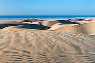 Desert sand dunes at the Lagoon of Khenifiss (Lac Naila), Atlantic coast, Morocco.