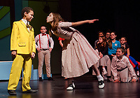 "Nehemiah Monon-Marquis (Conrad Birdie) with Brenna O'Connor (Kim MacAfee) as she prepares for ""One Last Kiss"" during dress rehearsal for Bye Bye Birdie with Gilford Middle School Tuesday afternoon.  (Karen Bobotas/for the Laconia Daily Sun)"