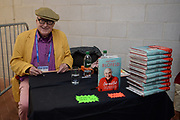 Veteran cricket commentator Henry Blofeld  signing his book during the first day of the 4th SpecSavers International Test Match 2018 match between England and India at the Ageas Bowl, Southampton, United Kingdom on 30 August 2018.