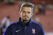 York City Assistant Manager Simon Donnolly   during the Johnstone's Paint Trophy match between Barnsley and York City at Oakwell, Barnsley, England on 10 November 2015. Photo by Simon Davies.