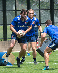 April 3, 2018 - Hong Kong, Hong Kong SAR, CHINA - HONG KONG,HONG KONG SAR,CHINA:April 3rd 2018. The USA Rugby team conduct a training session at So Kon Po recreation ground ahead of their Hong Kong Rugby 7's matches. Danny Barrett runs with the ball (Credit Image: © Jayne Russell via ZUMA Wire)