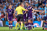 April 29, 2017: Perth Glory disagree with the call of Jordy BUIJS's goal at Semi Final one of the 2016/17 Hyundai A-League match, between Sydney FC and Perth Glory, played at Allianz Stadium in Sydney.