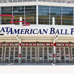Photo of Cincinnati Great American Ball Park extrance and sign. Great American Ballpark is a sports stadium and home to the Major League Baseball team the Cincinnati Reds. The new venue replaced Riverfront Stadium (Cinergy Field) in 2003 and is named after the Great American Insurance Group company.