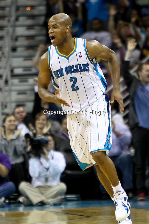 April 6, 2011; New Orleans, LA, USA; New Orleans Hornets point guard Jarrett Jack (2) against the Houston Rockets during the second half at the New Orleans Arena. The Hornets defeated the Rockets 101-93 and clinched a playoff spot with the victory.   Mandatory Credit: Derick E. Hingle-US PRESSWIRE