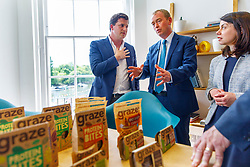 © Licensed to London News Pictures. 22/05/2017. London, UK. Liberal Democrat leader TIM FARRON visits the HQ of Graze, healthy snacks company and meets CEO Anthony Fletcher in Richmond, west London on Monday 22 May 2017. Photo credit: Tolga Akmen/LNP