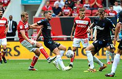 Andreas Weimann of Bristol City shoots at goal- Mandatory by-line: Nizaam Jones/JMP- 18/08/2018 - FOOTBALL - Ashton Gate Stadium - Bristol, England - Bristol City v Middlesbrough - Sky Bet Championship