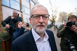 © Licensed to London News Pictures. 03/04/2019. London, UK. Leader of the Labour Party Jeremy Corbyn leaves home this morning. Yesterday evening British Prime Minister Theresa May made a statement in Downing Street offering to go into talks with Mr Corbyn, following the announcement of a request for an extension to article 50, thereby delaying Britain leaving the European Union. Photo credit : Tom Nicholson/LNP