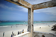 "The ""Lido seafood and tourism"" restaurant at he beach in the outskirts of Mogadishu,Somalia. are being rebuild by owner Kasim Mohammed. Once finished he is sure that the tourists will start coming again. He is hopeing for a peaceful country in the future and have a strong belief bebuilding the destroyed areas of the city."