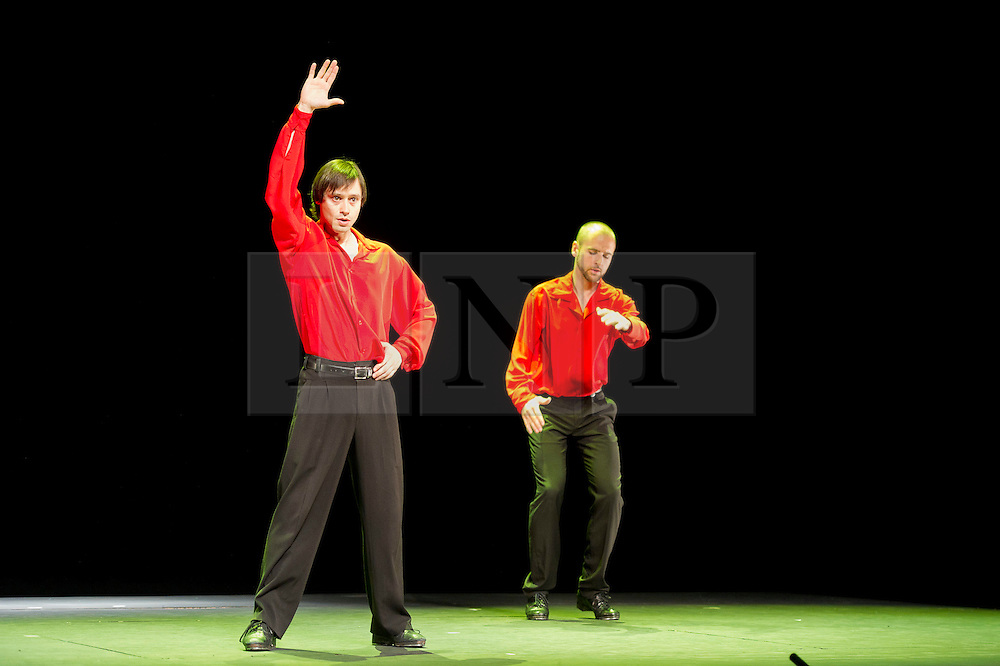 © LIcensed to London News Pictures. London, UK.  04/05/2011. Tap Olé make their London debut at the Peacock Theatre with their latest production, Tapeando. Tapeando explores the choreographic possibilities of fusing tap dance with a variety of Latin, flamenco, jazz and Mediterranean rhythms..Dancers: Roser Pont, Guillern Alonso, Laia Molins, Rubén Pérez.Please see special instructions for usage rates. Photo credit should read TONY NANDI/LNP