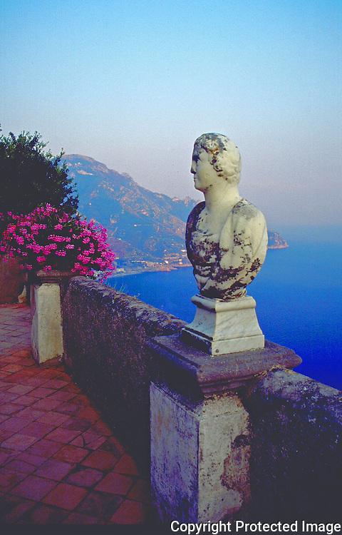 View from the Villa Cimbrone in Ravello, Amalfi Coast called the Belvedere of Villa Cimbrone or Terrazza dell'Infinito the Terrace of the Infinite