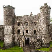 The interior-facing side of the gatehouse at Harlech Castle in Harlech, Gwynedd, on the northwest coast of Wales next to the Irish Sea. The castle was built by Edward I in the closing decades of the 13th century as one of several castles designed to consolidate his conquest of Wales.